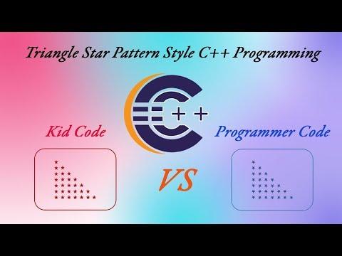 Kid Code VS Programmer Code - Triangle Star Pattern C++ Programming Match Code