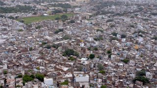 Pan shot of the beautiful view of the pink city Jaipur from the Nahargarh fort