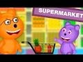 Mega Gummy Bear Funny story Goes Shopping Finger Family Rhyme for Kids