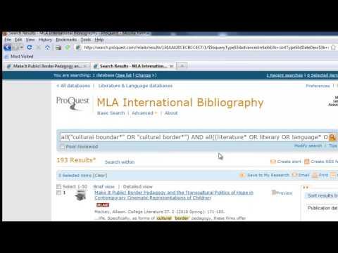 Finding Articles Using MLA International Bibliography