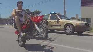 Cops VS Bikers Mini Dirt Bike Police Chase DUDE DATE Cop Car Chase Pit Bike Running From Cops 2017