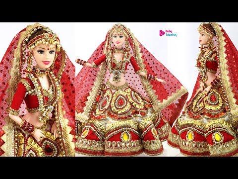 Designer Lehenga Making For Barbie/DIY Bridal Costume & Jewellery For Barbie/Bridal Doll Decoration