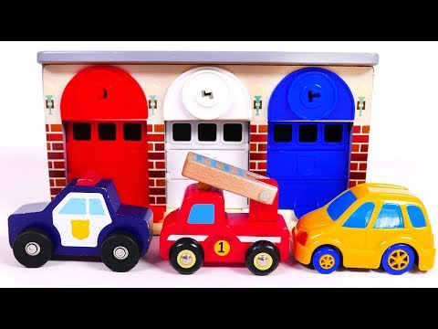Fire Truck Police Car Garage Parking Playset for Kids Learn Colors for Children