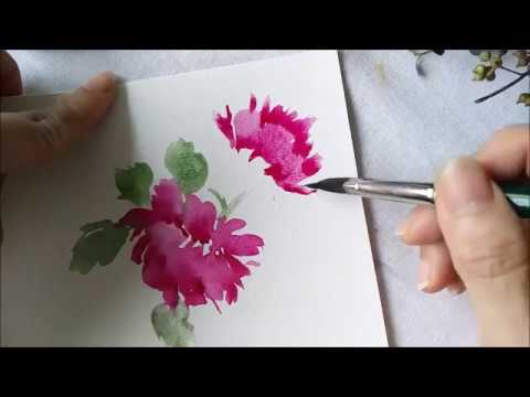 Paint with triangle brush Chinese Peonies