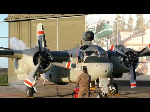 Grumman S-2 Tracker ENGINE START-UP and FOLDING WINGS at Aviodrome (EHLE)