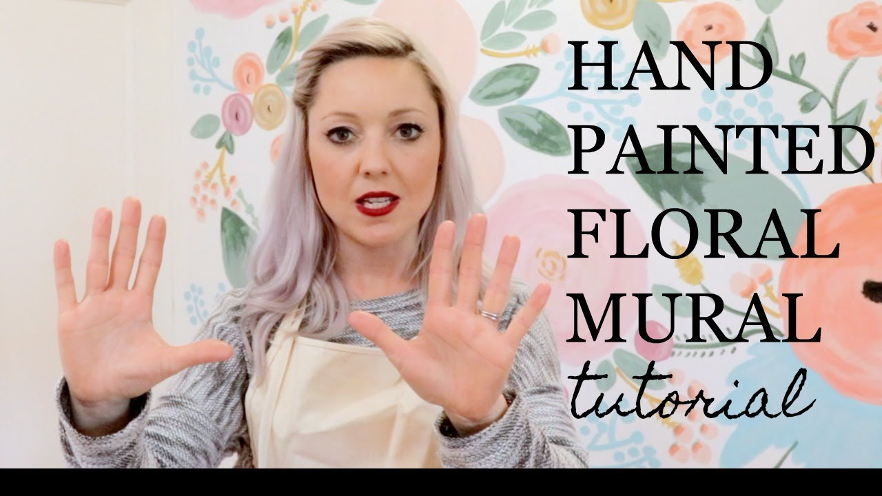 Hand Painted Floral Wall Tutorial Youtube