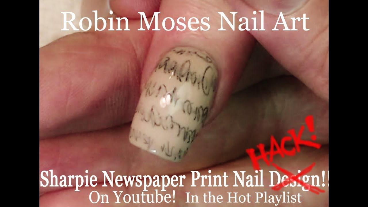 Newspaper Nail art HACK | DIY EASY Sharpie Nails | Newsprint Nail ...
