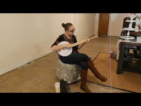 Gate City High School student Elisabeth Rogers played Christmas tunes on Small Business Saturday in