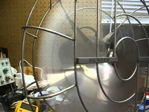 Hunter Zephair C16 3-speed american made metal oscillating fan - YouTube