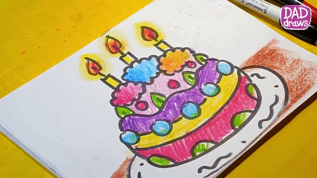 How To Draw A Birthday Cake With Folding Art For Kids Hub