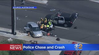 Police Pursuit Ends With Violent Crash In Santa Clarita