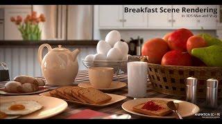 Rendering a Breakfast scene in 3DS Max, HDRI Lighting in Vray- Tutorial
