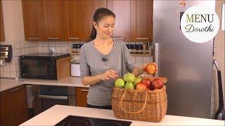 Aromatyczny kisiel z owocami, pieczone jabłko i zapiekana owsianka z gruszką. MENU Dorotki