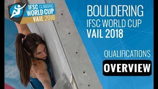 IFSC Climbing World Cup Vail 2018 - Bouldering Qualifications Overview
