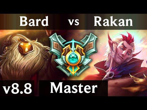 BARD vs RAKAN (SUPPORT) ~ Legendary, 700+ games, Perfect KDA 8/0/7 ~ Korea Master ~ Patch 8.8