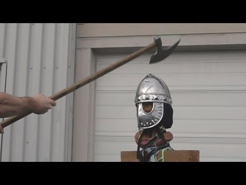 Helmet tests, part 3 - Norman mask helmet (16 gauge / 1.5-1.7mm mild steel)