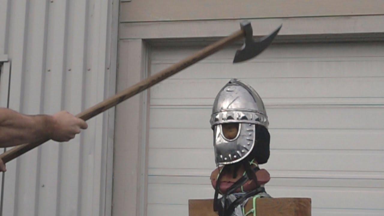 Helmet tests, part 3 - Norman mask helmet (16 gauge / 1 5-1 7mm mild steel)