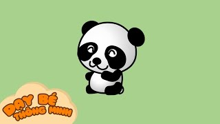 Bé tập vẽ tranh con vật | Hướng dẫn học vẽ con gấu trúc bằng bút chì | Dạy bé thông minh