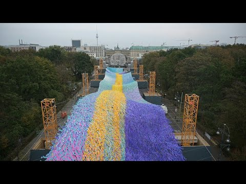 Giant Wave Set At Brandenburger Gate To Mark Fall Of Berlin Wall   AFP