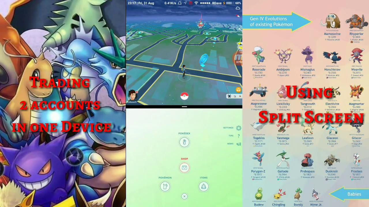 Pokemon go Two Accounts in one Phone at the same time! Trading Pokemon