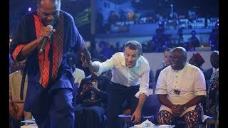 see how femi kuti drags france president to the stage to dance as ambode joins them