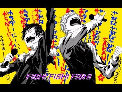 Izaya and Shizuo funny singing- osakana tengaku (DGS ep139)