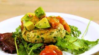 Tilapia Fish Cakes with Avocado and Roasted Tomato Salsa