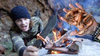 3 DAYS Bushcraft Solo Survival Primitive SHRIMP TRAP Catch and Cook IN CAVE!