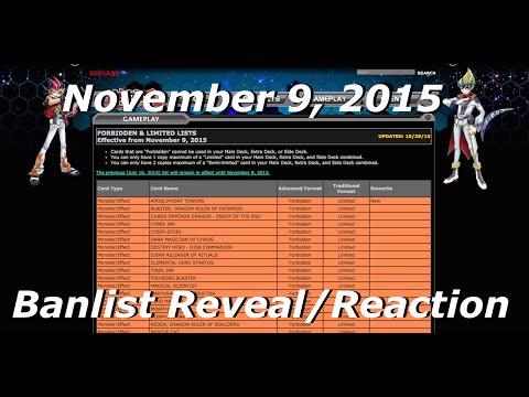 Yu-Gi-Oh! November 9, 2015 TCG Live Banlist Reveal & Reaction! (#KozmoMasterRace)