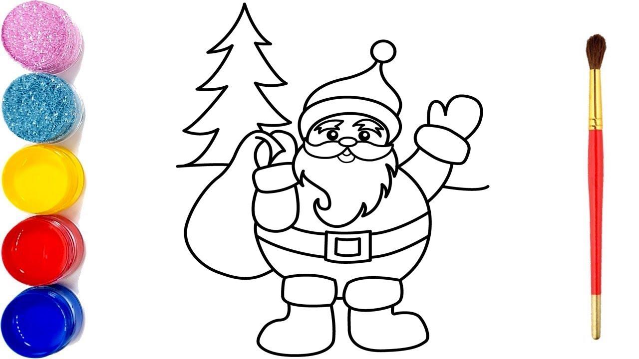 glitter santa claus weihnachtsbaum zeichnen und färben