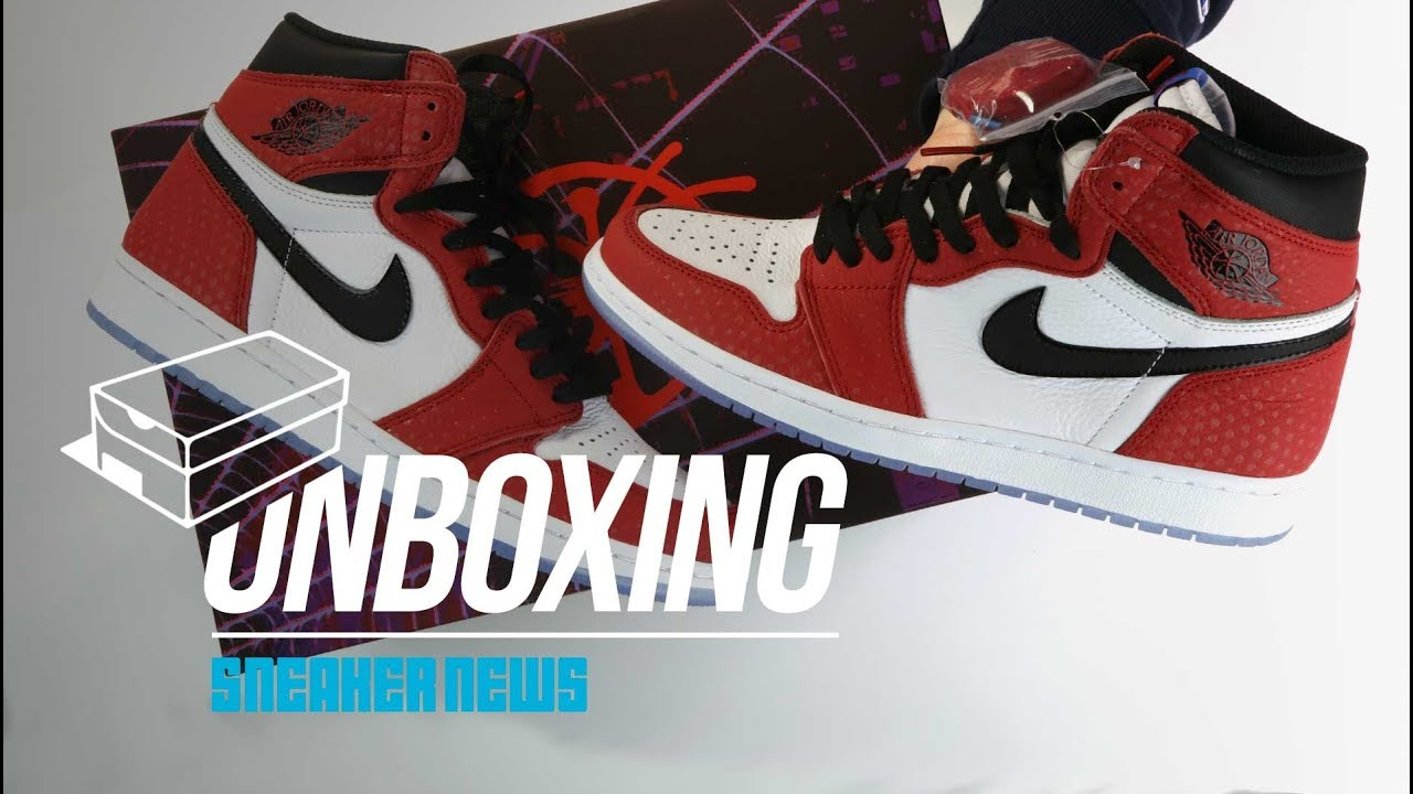 various colors 80389 f0107 Spider-Man Jordan 1 Unboxing + Review