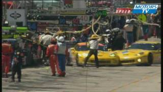 ALMS 12 Hours Sebring Two Corvette crash in the pits 2010