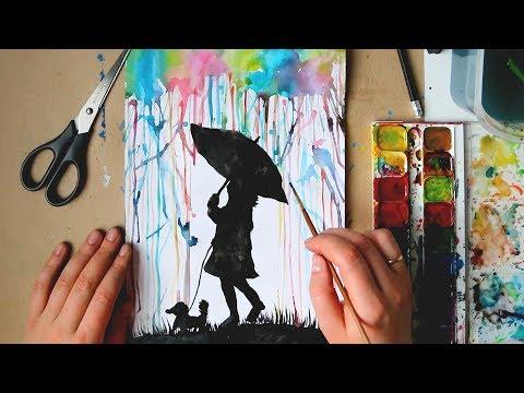 Как Нарисовать  Летний Дождь Трубочкой/ Видео урок для детей 6-8 лет