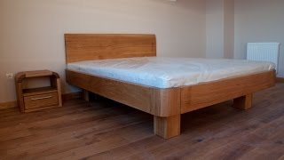 Wooden Bed and Bedside Tables
