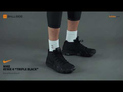 c1387b70a9 Nike Kyrie 4 Triple Black on feet Review - YouTube