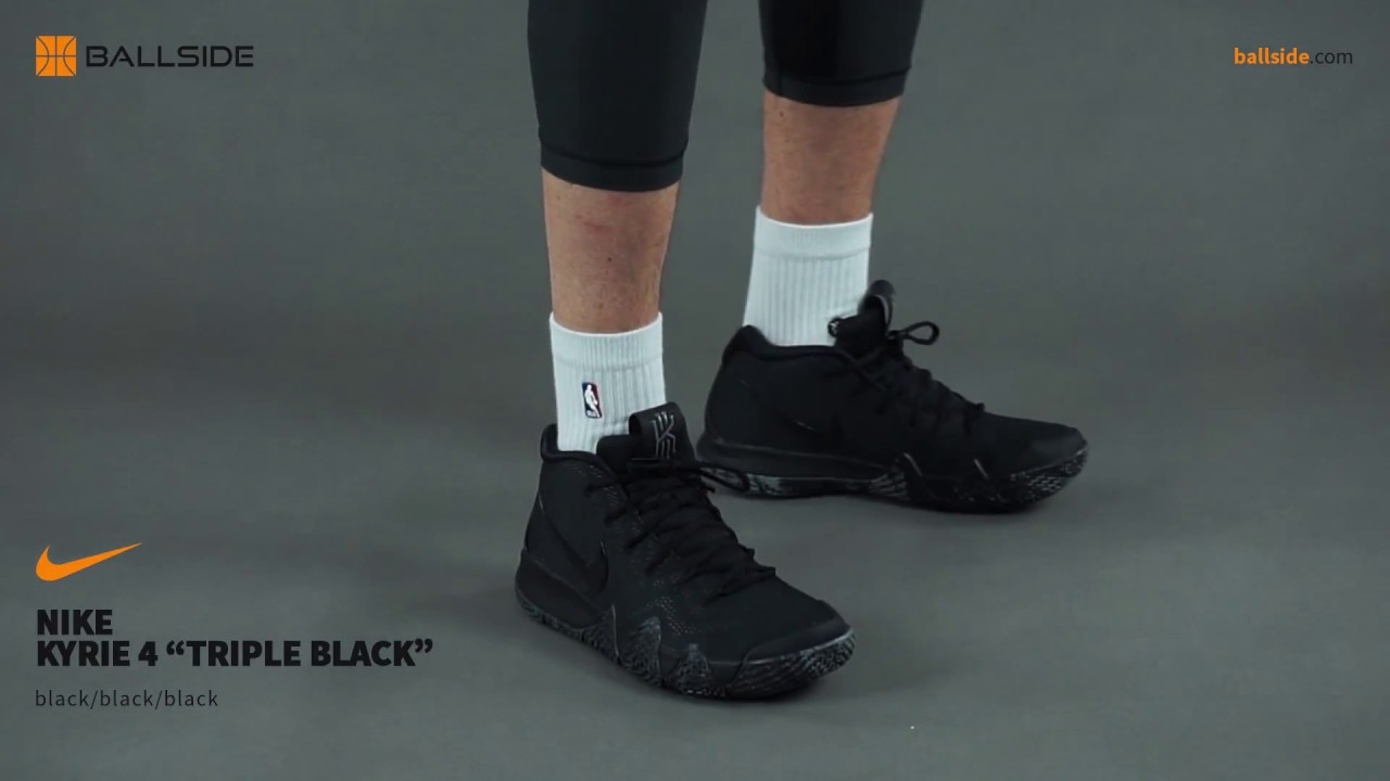 low priced f56ea aeed4 Nike Kyrie 4 Triple Black on feet Review