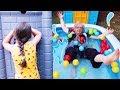 BÜYÜKANNE HAVUZA DÜŞTÜ!! Öykü Pretend Play Hide and Seek - Family fun kids , Oyuncak Avı