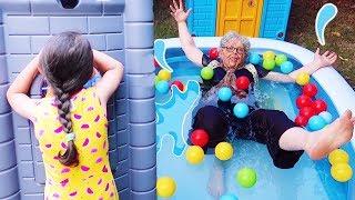 Grandma jumped into the pool!! Öykü  Pretend Play Hide and Seek - Family fun kids , Oyuncak Avı