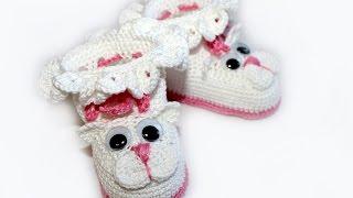 "Вязание крючком. МК Пинетки ""Котята""  (часть 2) Crochet. Crocheted sandals."