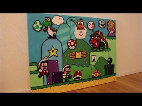 diy b gelperlen bild super mario perler beads super mario acryl bild acrylic painting. Black Bedroom Furniture Sets. Home Design Ideas