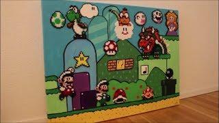 DIY: Bügelperlen Bild Super Mario / Perler Beads Super Mario / Acryl-Bild / Acrylic-Painting
