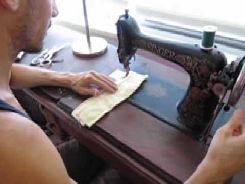 Singer 66 treadle sewing machine in action!