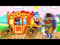 Lion Family 📯 Pretend Play with Princess Carriage Cartoon for Kids