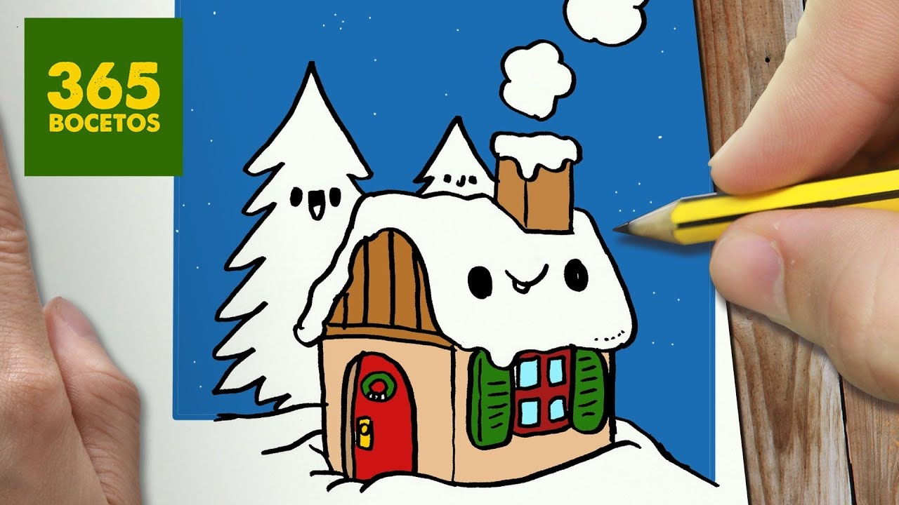 Dibujos De Navidad Del Olentzero.Como Dibujar Una Casa Para Navidad Paso A Paso Dibujos Kawaii Navidenos How To Draw A House