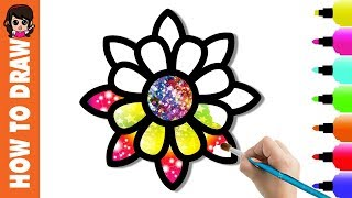 Glitter Flowers Coloring Pages for Kids-How to Draw Flowers for kids