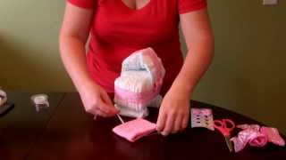 How to make a Diaper Cake -Simple Bassinet with wheels for baby shower