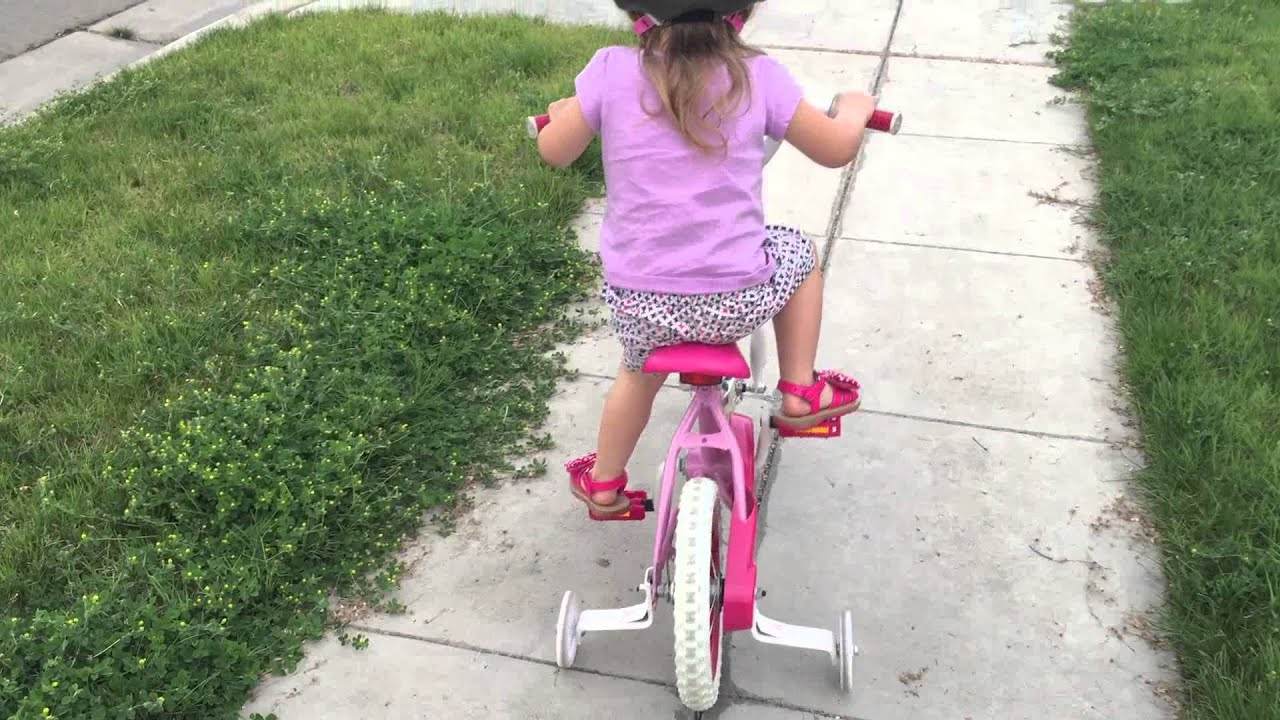 2 Year Old Toddler Rides A Bike With Training Wheels