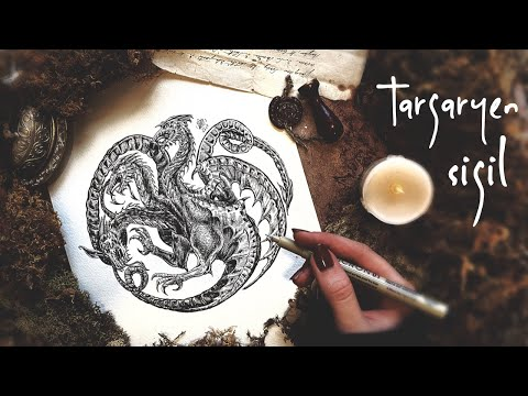 How To Draw The Targaryen Dragon Sigil   Game Of Thrones Art  Ink Drawing Tutorial  Best Inking Tips