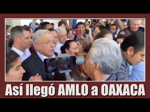 Llega el presidente Andrés Manuel López Obrador a Oaxaca.