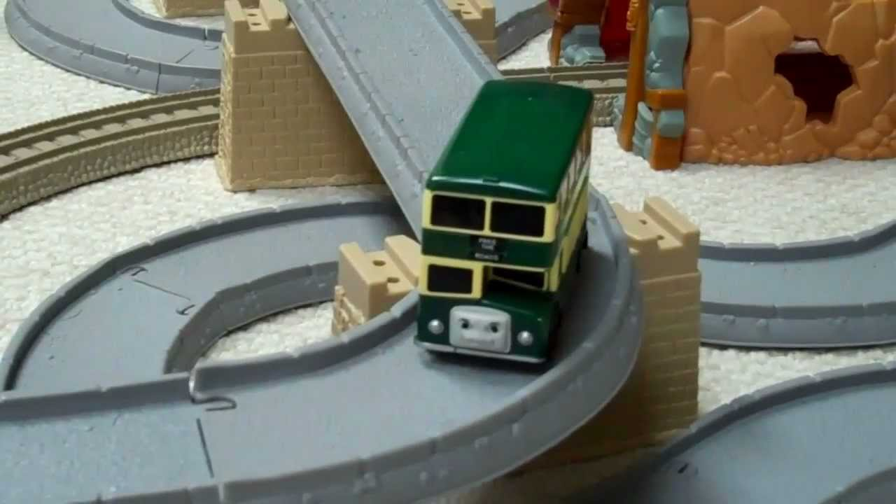 Trackmaster motorized thomas the train green bulgy bus on a large